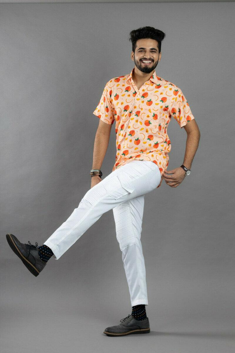 Orange Fruit Regular Fit Print spread collar Half Sleeves Shirt for Men