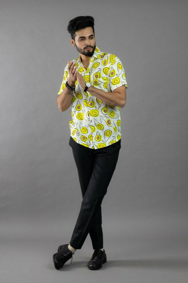 Mens For Cartoon Avocado Printed Half Sleeve Full Stitched Shirt