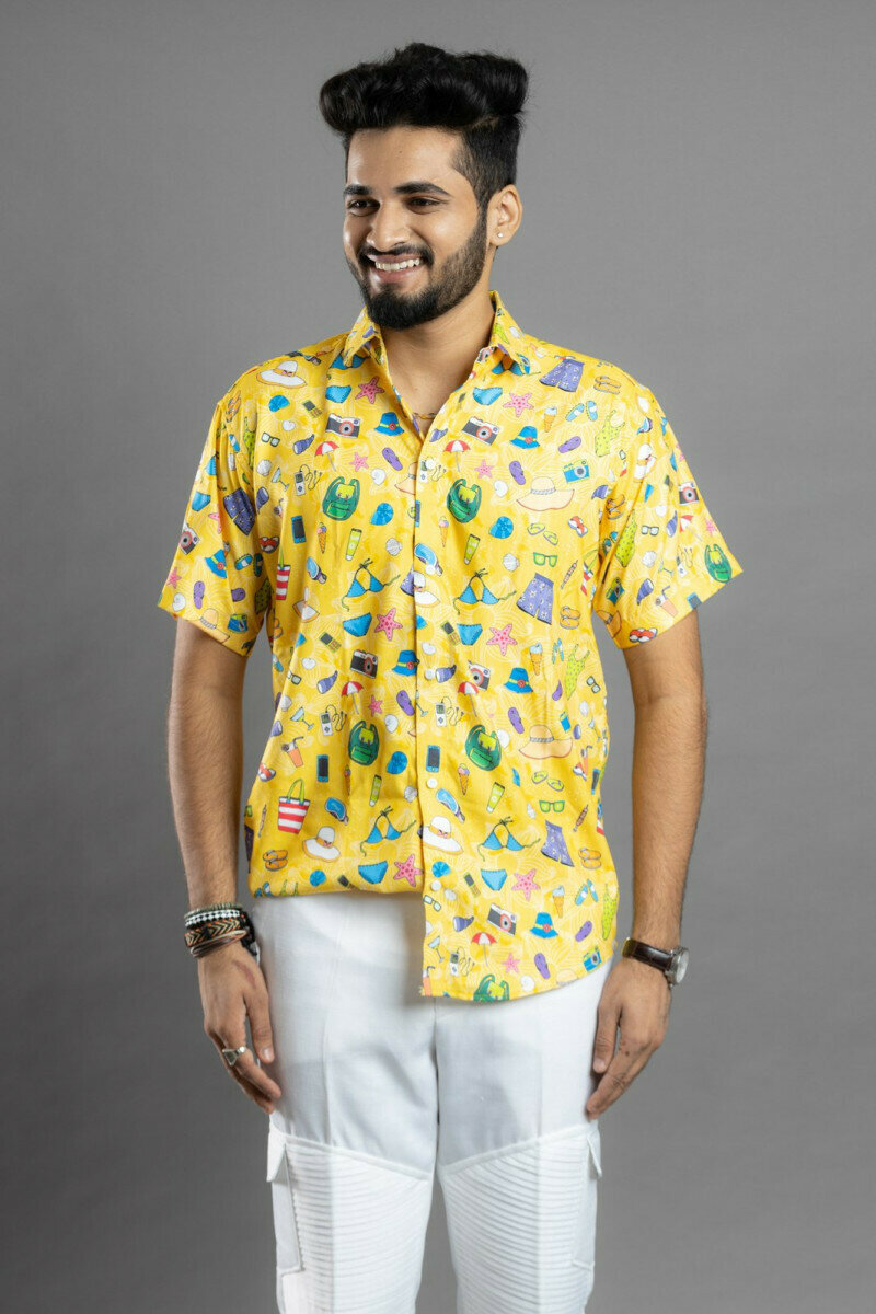 Mens For Yellow Seaside Printed Half Sleeve Full Stitched Shirt