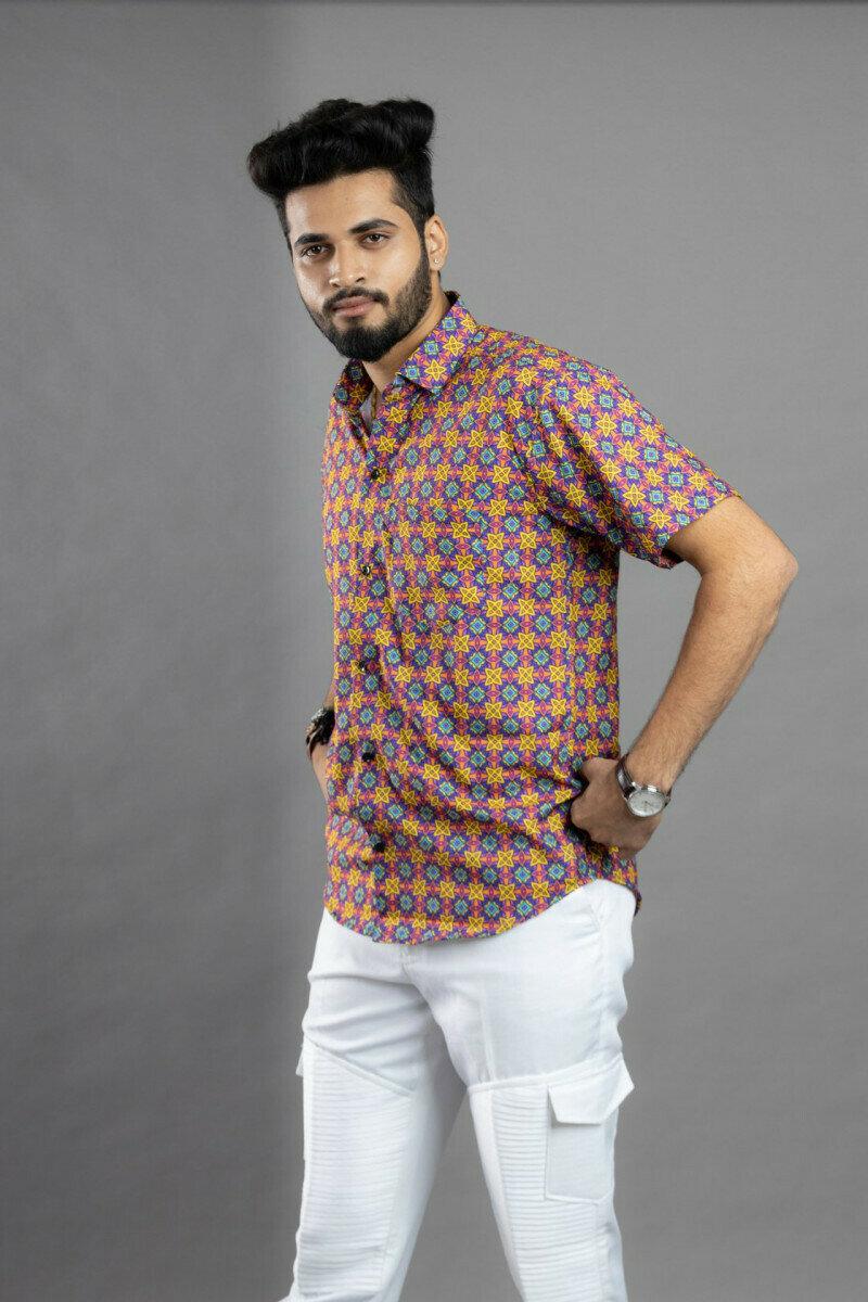 Mens Arabic Rug Floral Pattern Printed Half Sleeve Full Stitched Shirt
