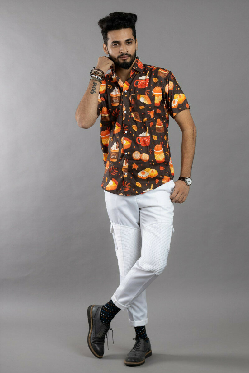 Mens For Cupcakes and Coffee Party Print Half Sleeve Full Stitched Shirt