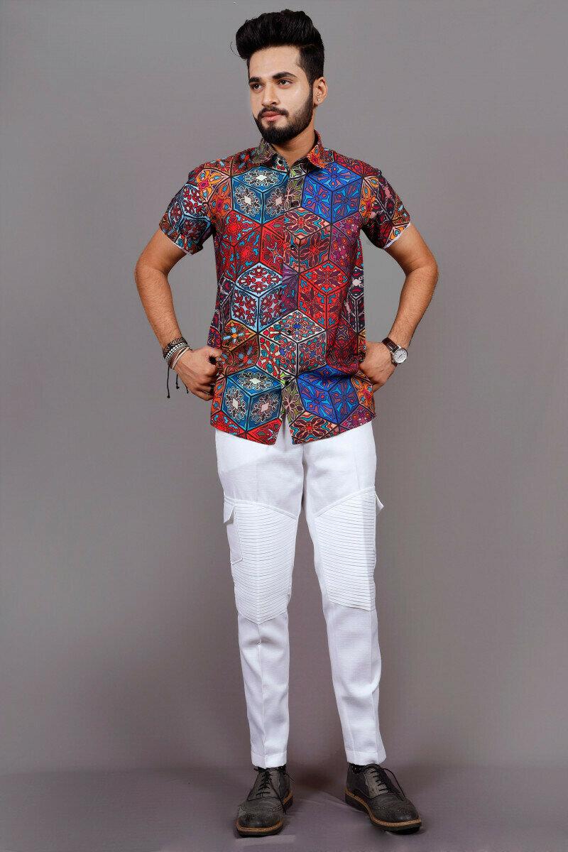 Mens Hexagon Pattern Print Half Sleeve Full Stitched Shirt