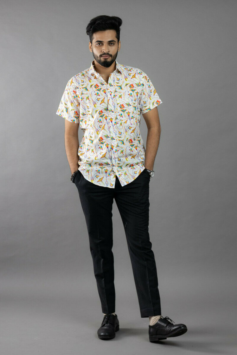 Mens For Kite Bird Clipart Printed Half Sleeve Full Stitched Shirt