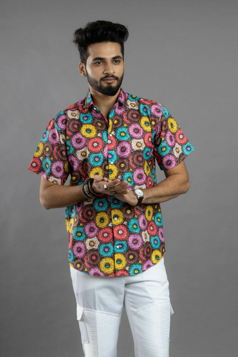 Mens For Yummy Donuts Printed Half Sleeve Full Stitched Shirt