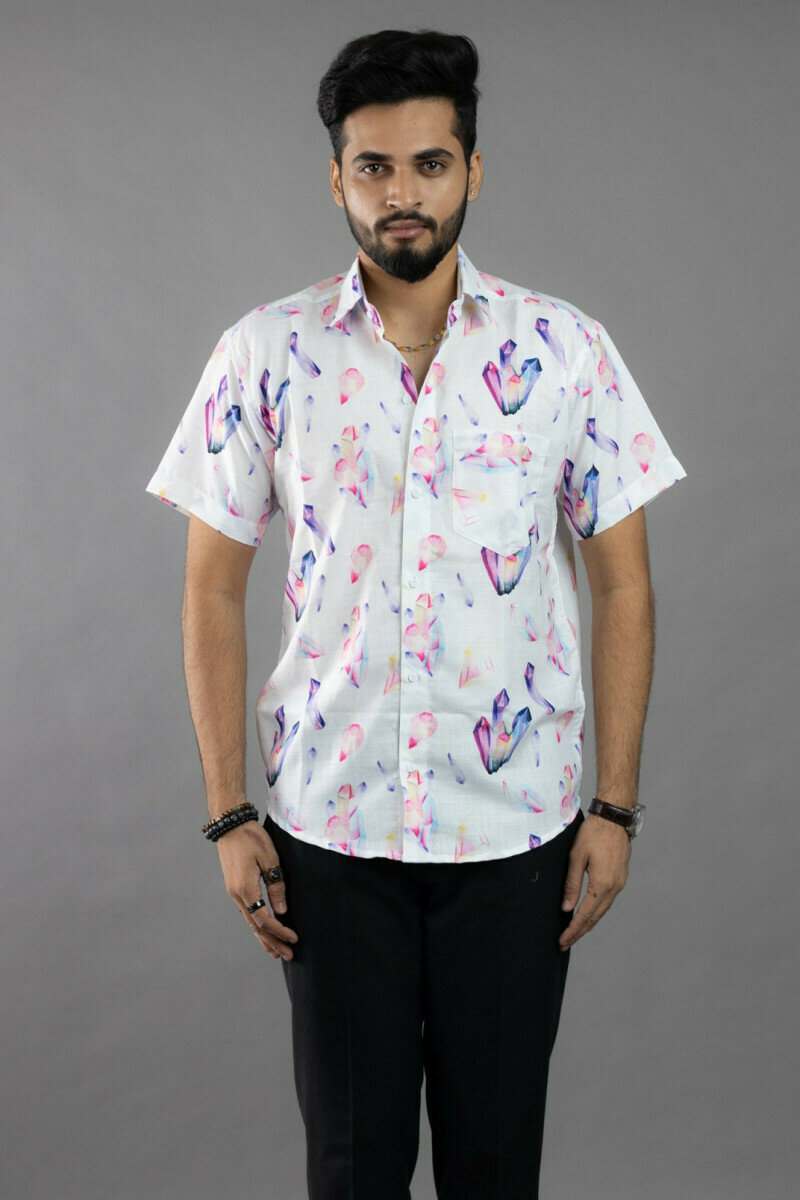 Mens For Diamond Watercolor Sublimation Crystal Printed Half Sleeve Full Stitched Shirt