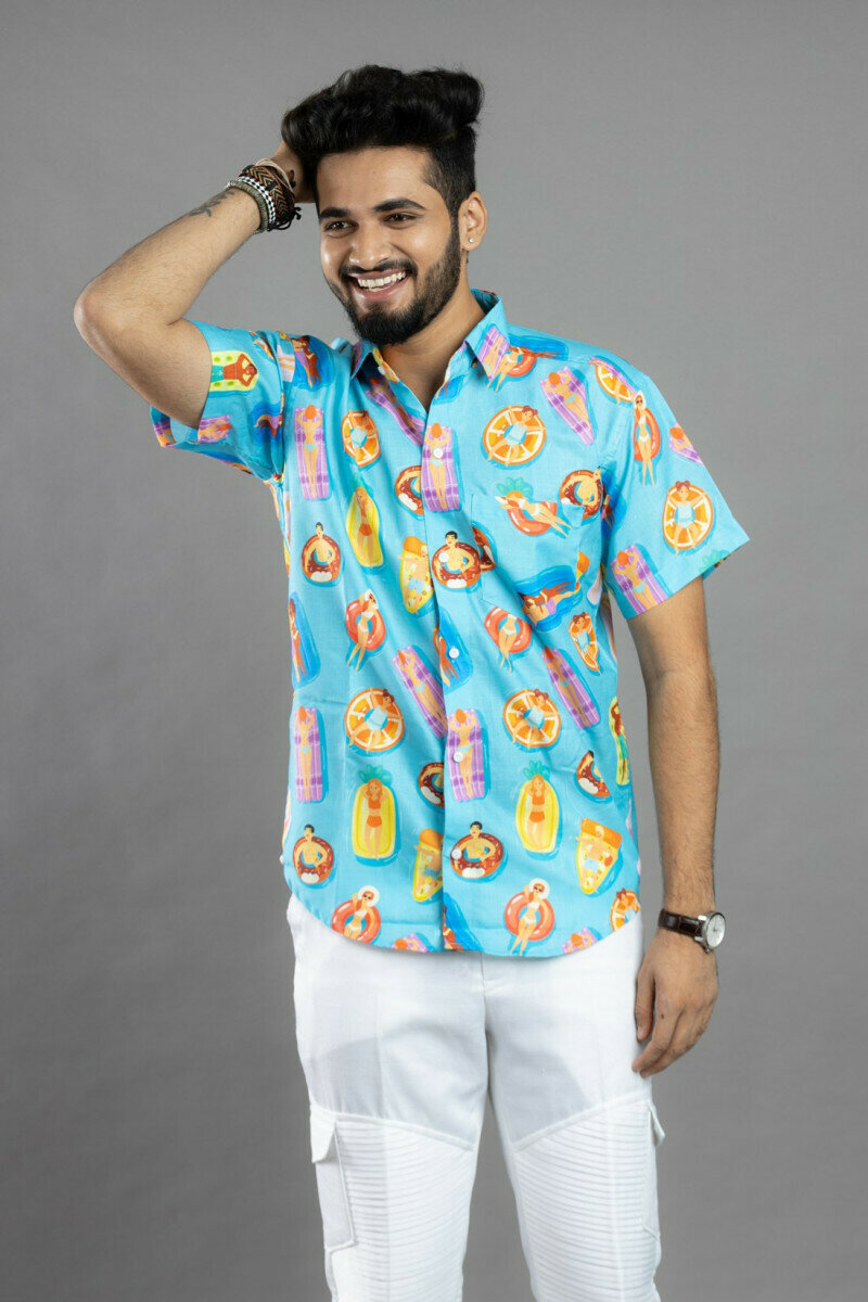 Mens For Relax In Swimming-Pool Printed Half Sleeve Full Stitched Shirt
