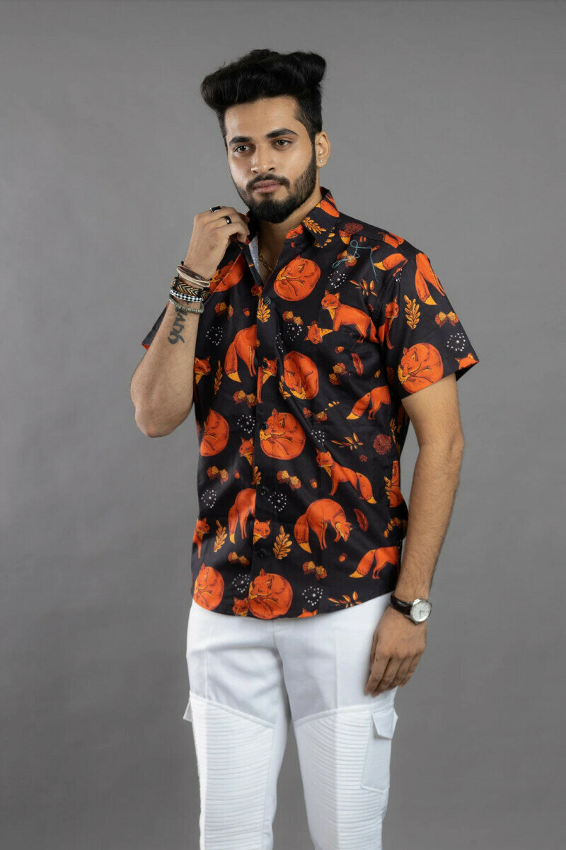 Mens For Fox Animal Lover Printed Half Sleeve Full Stitched Shirt