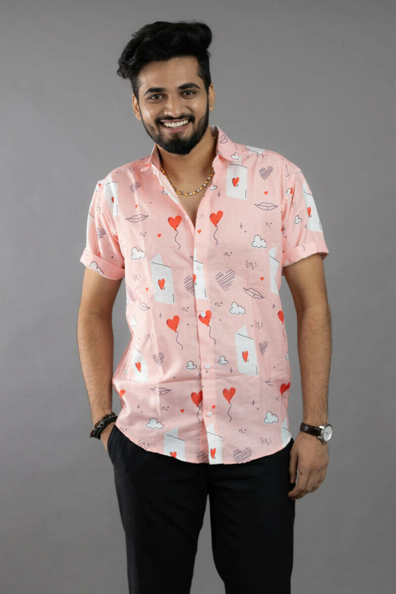 Heart Balloons Love Card Printed Mens Casual Half Sleeve Full Stitched Shirt