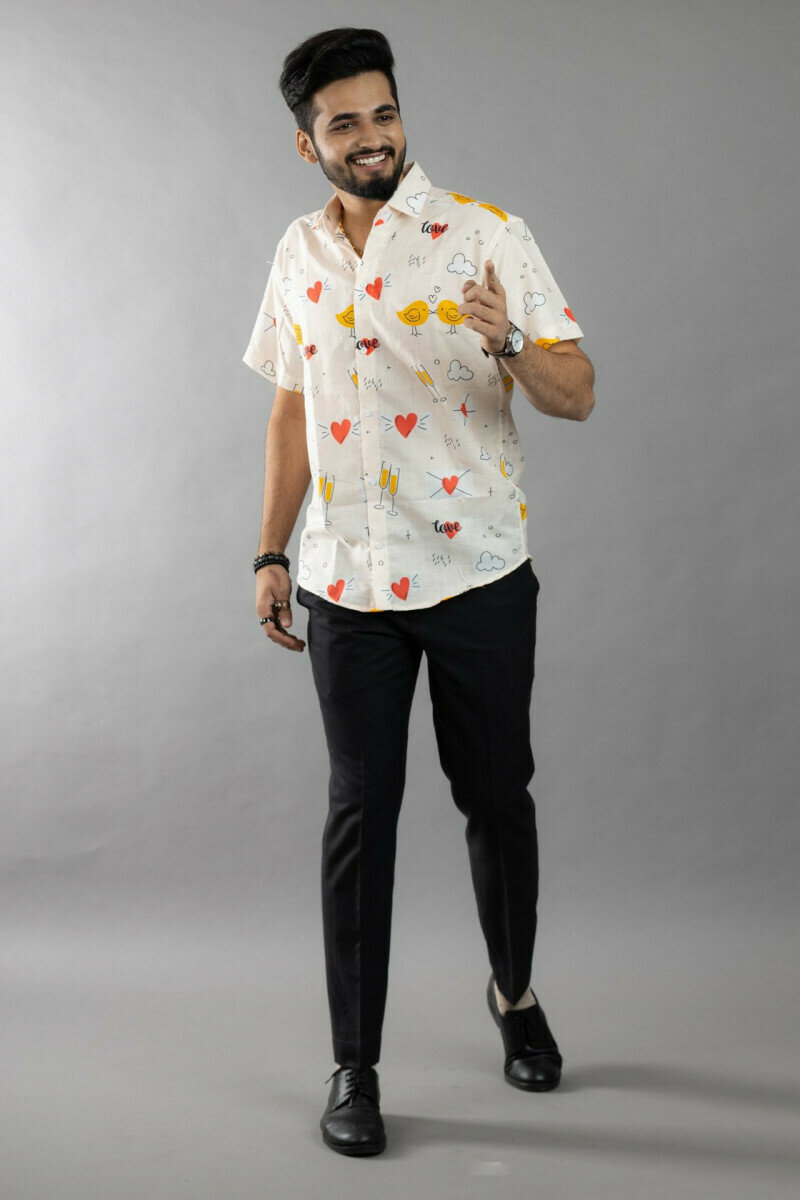 Love Propose Champagne Party Printed Half Sleeve Full Stitched Shirt