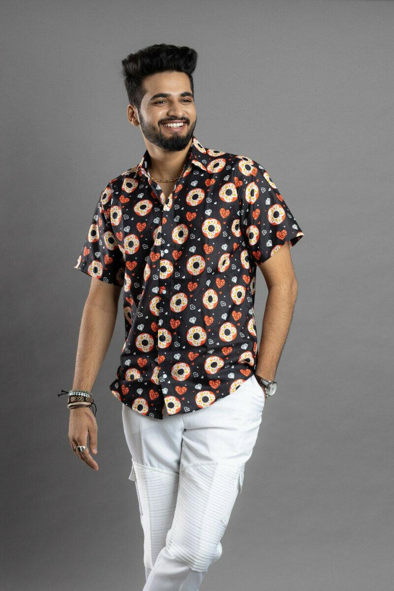 Men Black Color Floral Printed Half Sleeve Full Stitched Shirt