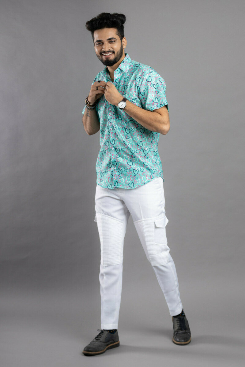 Small Multi Heart Print Mens Half Sleeve With Pocket Full Stitched Shirt