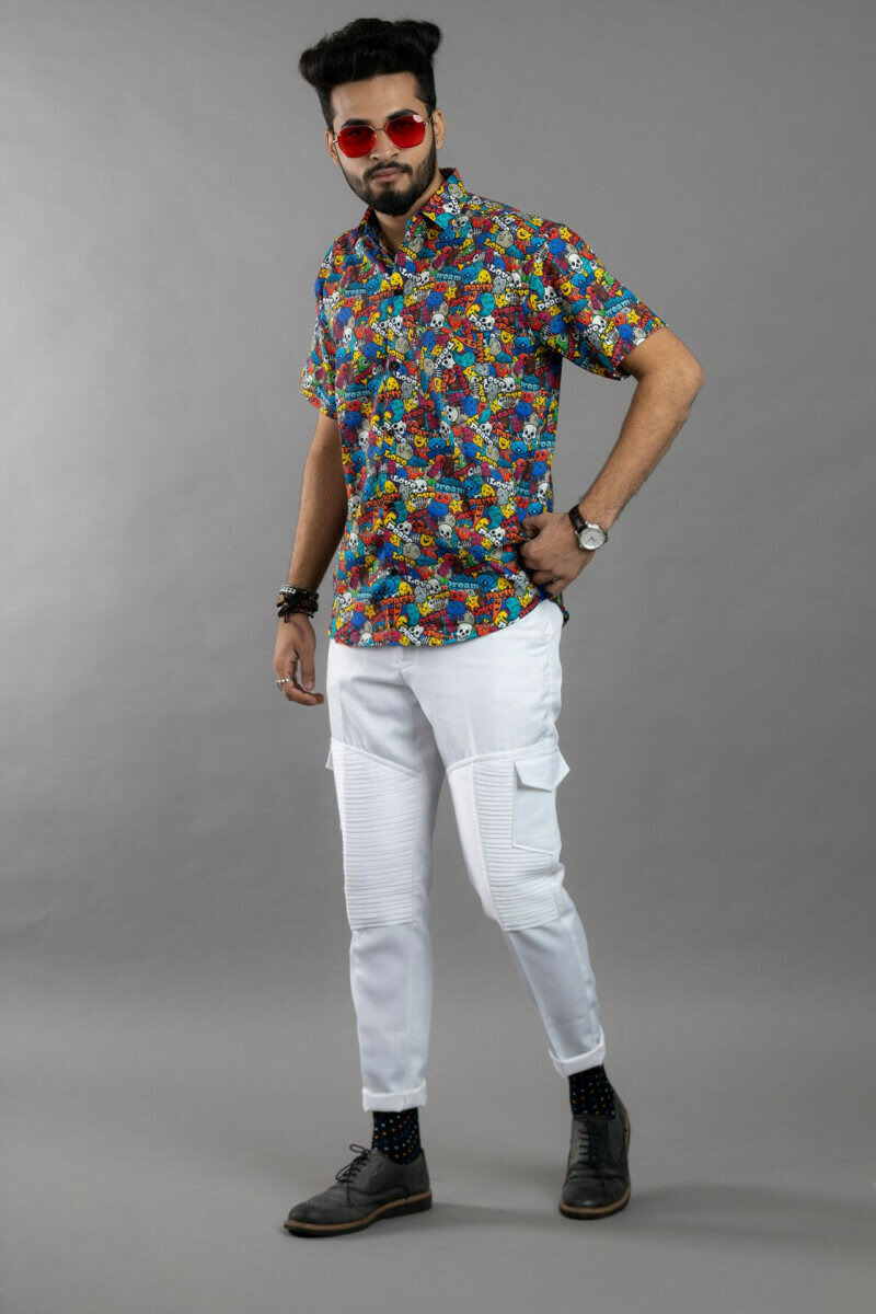 Mens For Different Emoji Printed Half Sleeve Full Stitched Shirt