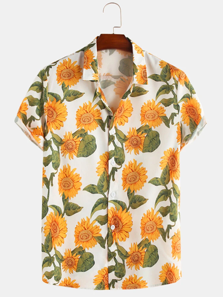 Sun Flower Print Turn Down Collar Short Sleeve Casual Holiday Shirts Full Stiched