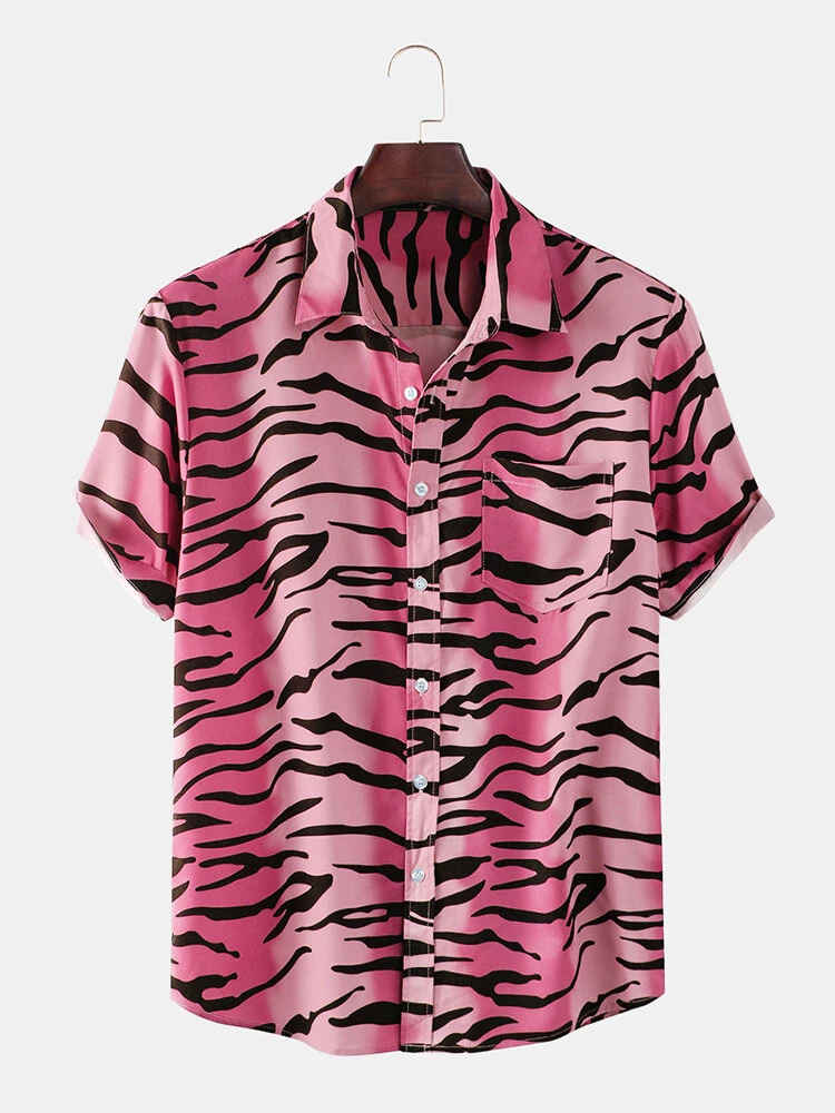 New Fashion Tiger Pattern Print Short Sleeve Half Shirt For Mens