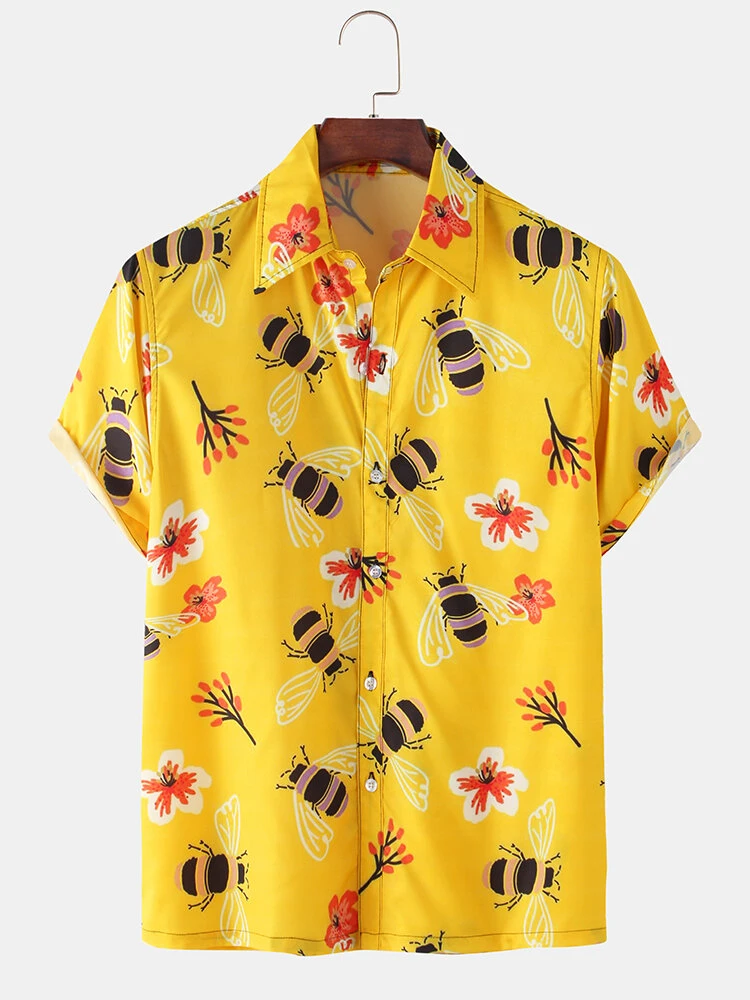 Mens Hunny Bees Printed Short Sleeve Shirt Full Stiched