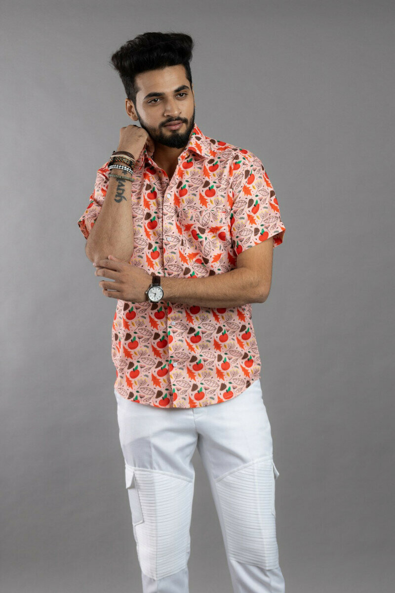 Floral Print Cherry Blossoms Half Sleeve Full Stitched Shirt