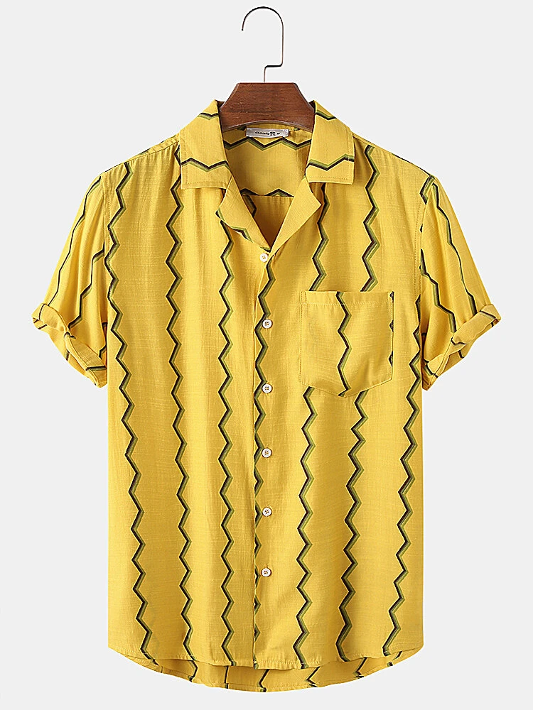 Yelllow Curved Stripes Short Sleeve Shirt Full Stiched