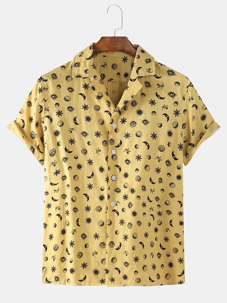 Fashion Stars Moon Printing Casual Shirts Full Stiched