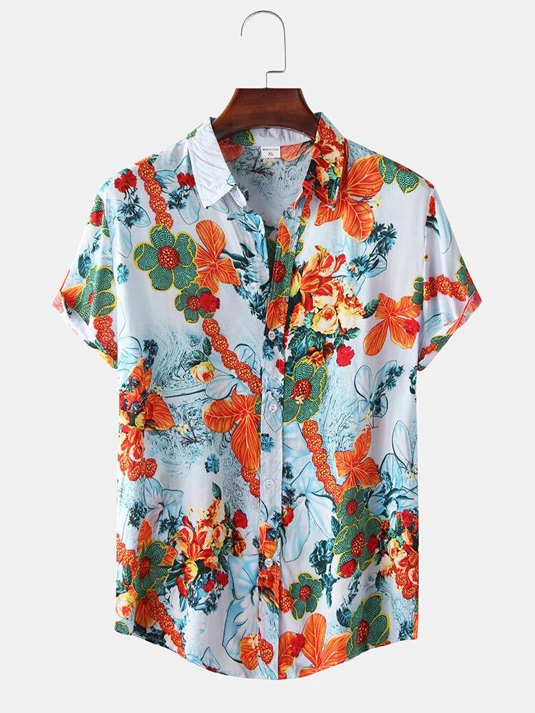 Cotton Oil Printing Floral Turn Down Collar Short Sleeve Shirt