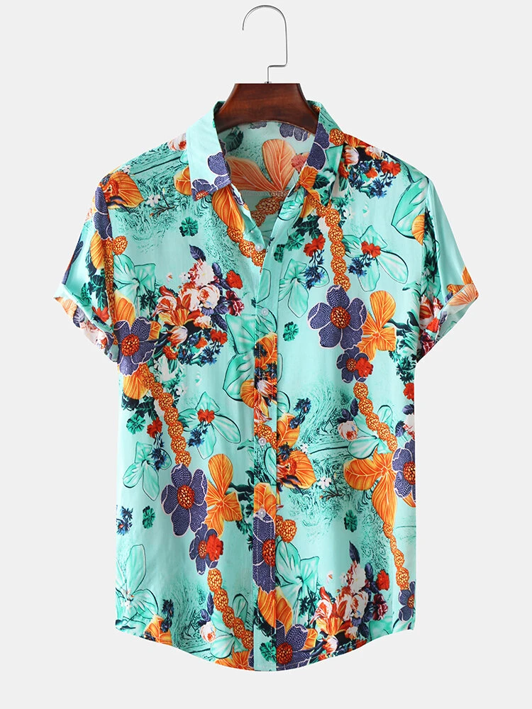 Cotton Floral Oil Printing Short Sleeve Shirt Full Stiched