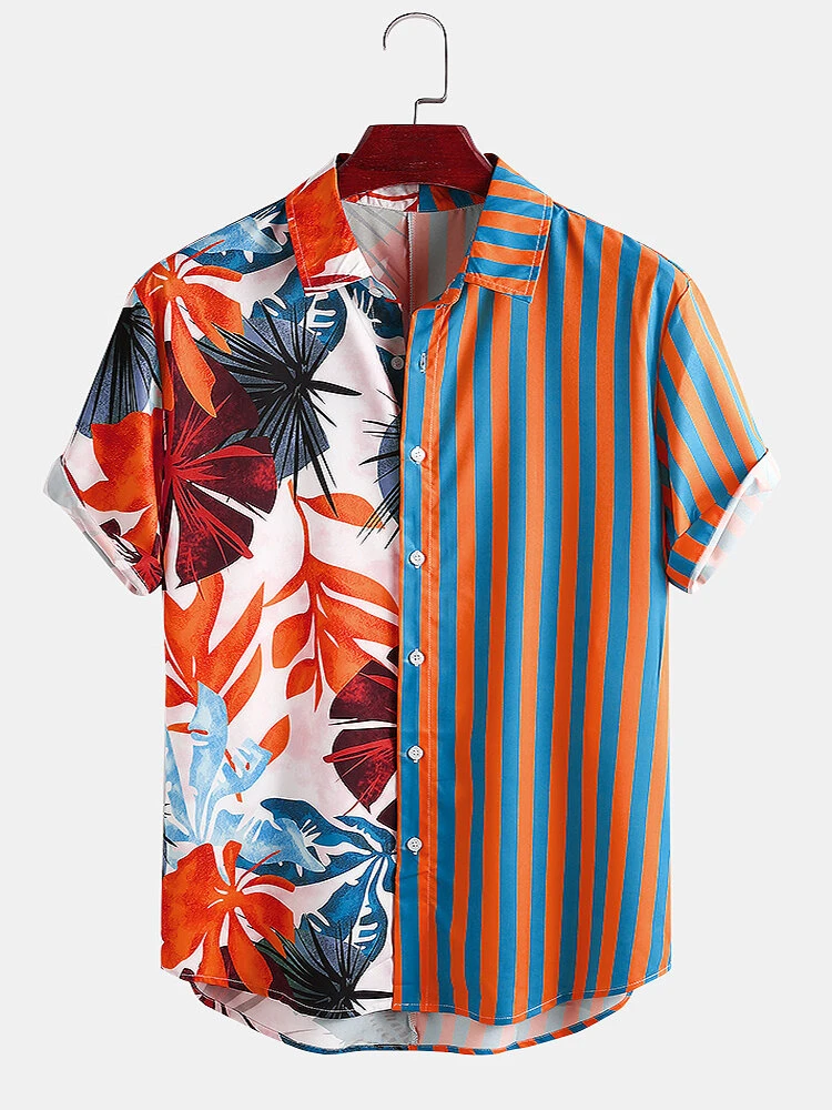 Tropical Leaf Colorful Summer Speacial Print Short Sleeve Casual Shirt Full Stiched