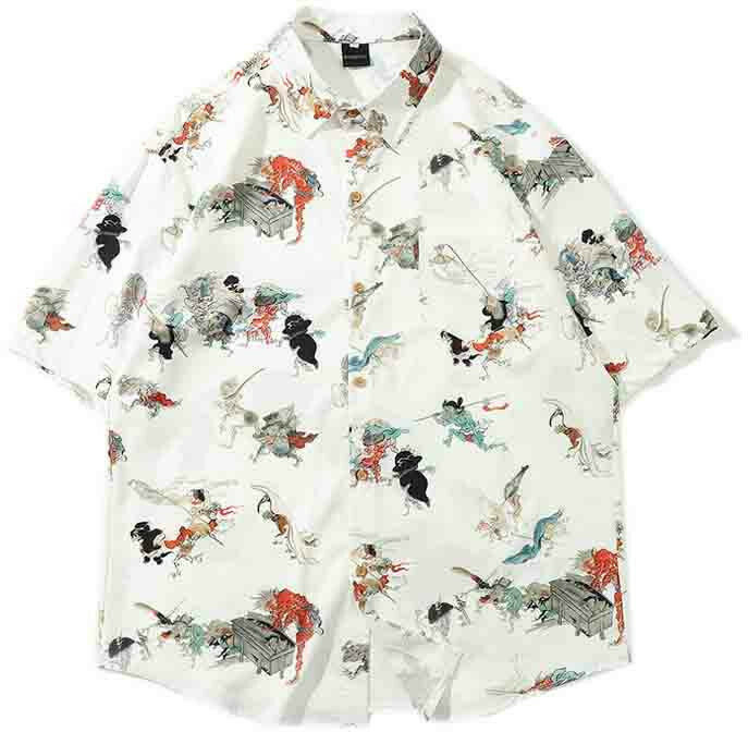 Summer Speacial Flamingo Coconut Print Holiday Short Sleeve Lapel Collar Shirt Full Stiched