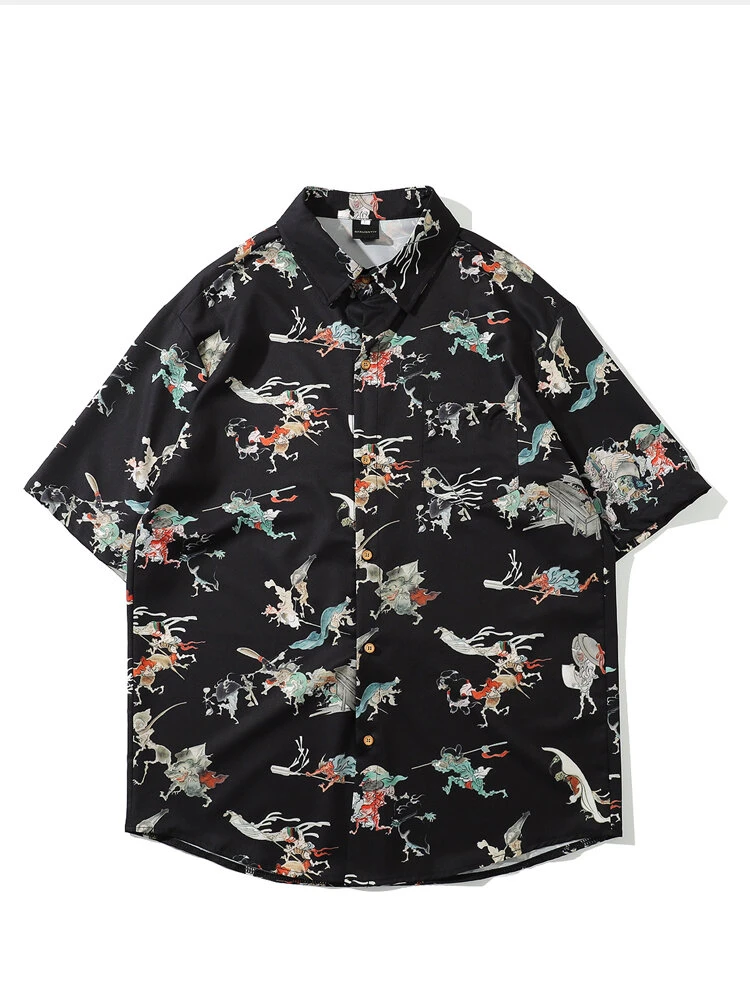 Chinese Fashion Floral White Printed Square Collar Shirt Fully Stiched