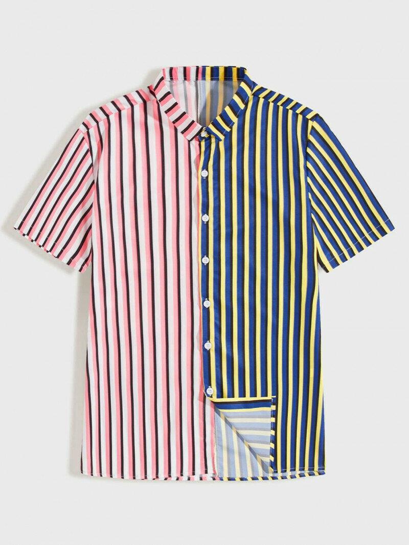 Boys Pink And Yellow Beautiful Striped Shirt