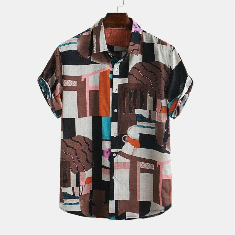 Men Abstract Multicolor Block Short Sleeve Shirt