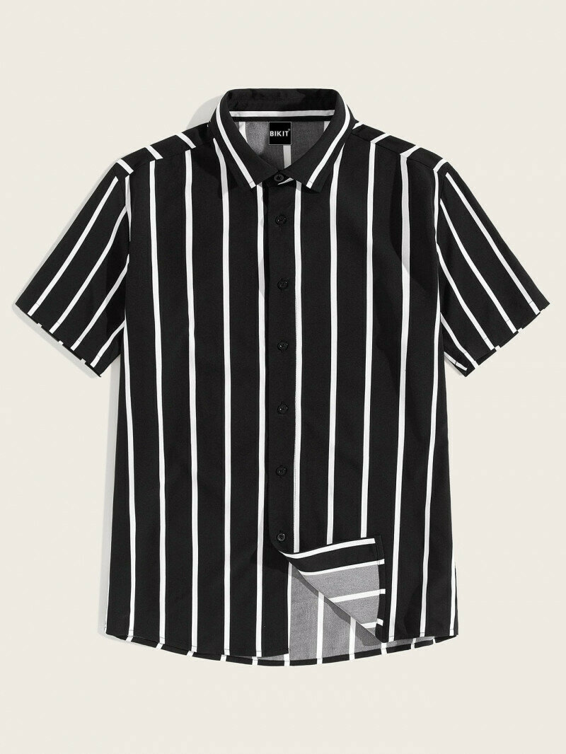 Boys Black And White Front Striped Shirt