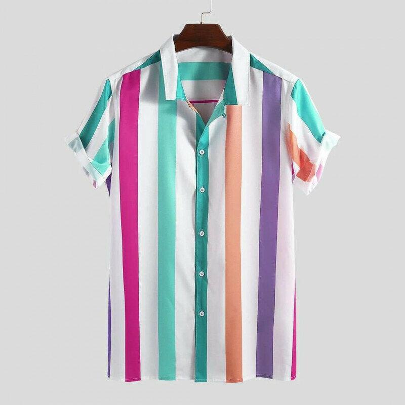 Mens Big Stripe Multicolored Short Sleeve Casual Shirt