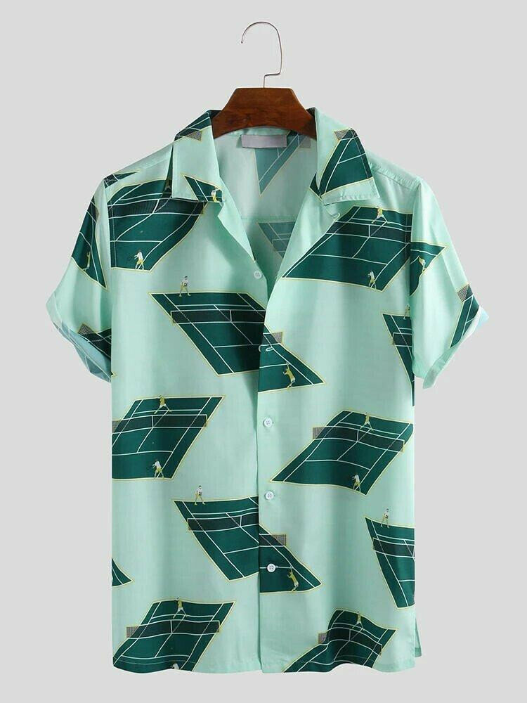 Mens Summer Golf Creative Printing Short Sleeve Loose Shirt