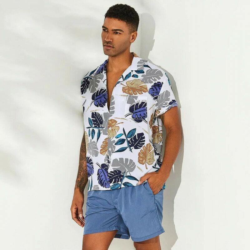 Boys Tropical Plants Printed Beach Shirt