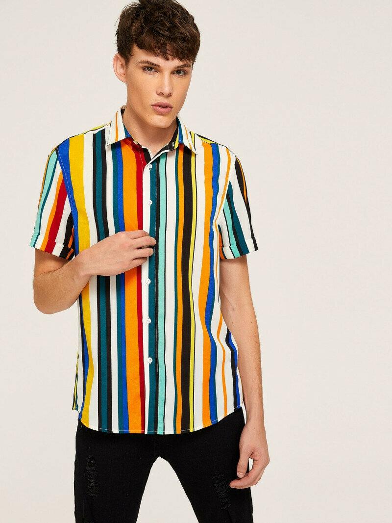 Men Up Button Multicolored Striped Shirt