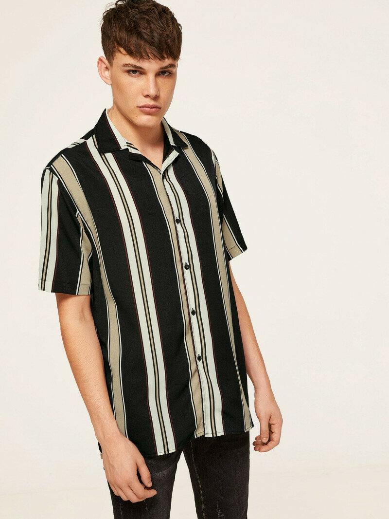 Boys  Notch Collar Black Color Block Striped Shirt