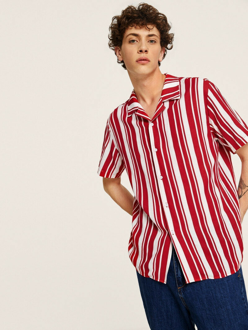Boys Revere Collar Pink Color Striped Shirt