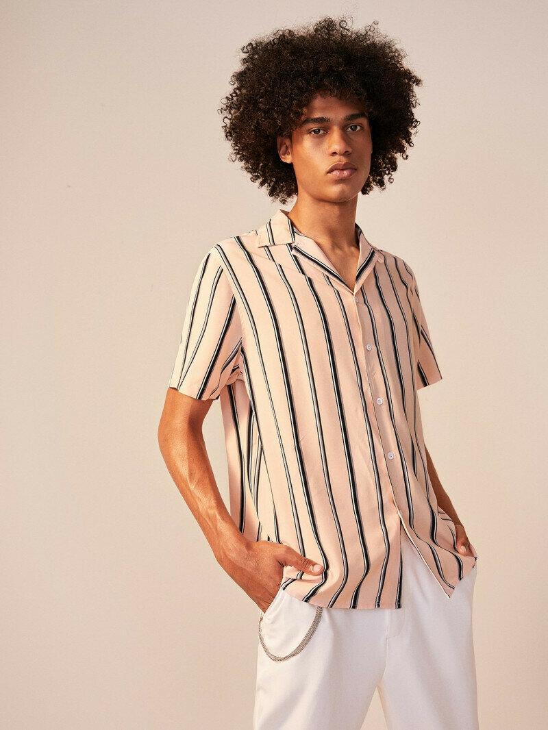 Boys  Notch Collar Coffee Striped Shirt
