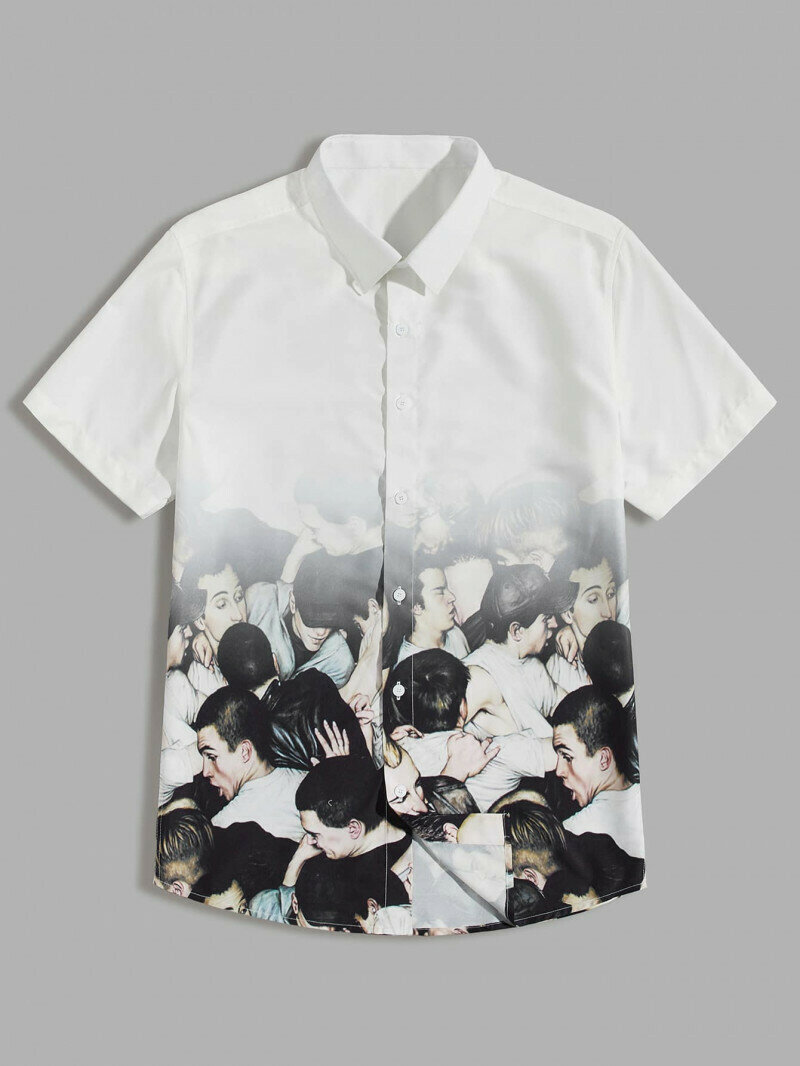 Men Figure Moshing Graphic Button Up Shirt
