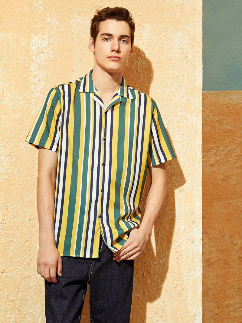 Boys Yellow Colored Revere Collar Striped Shirt