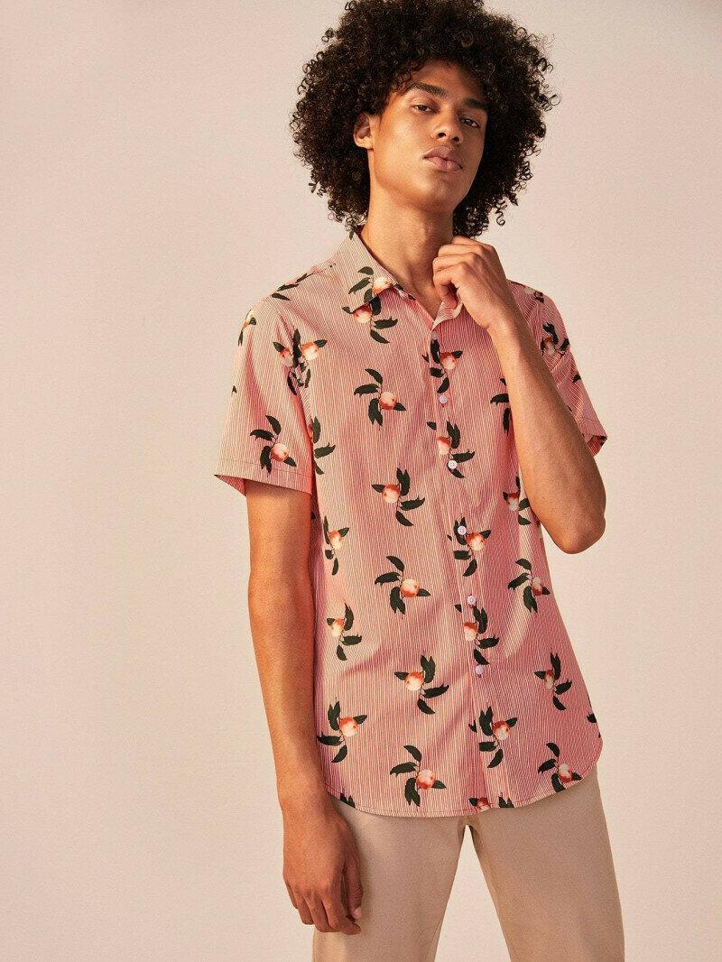 Boys Striped And Fruit Print Shirt