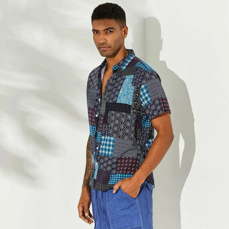 Mens Patchwork Printing Breathable Casual Shirts