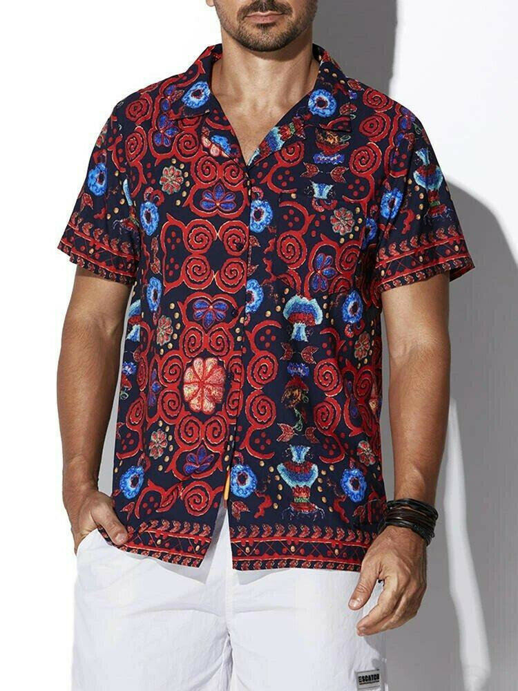 Two-Sided Mens Ethnic Floral Printing Casual Shirt