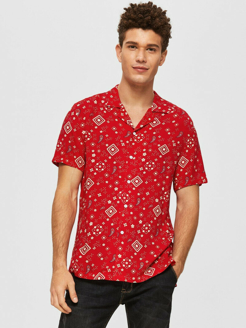 Boys Revere Collar Red Colored Paisley Shirt