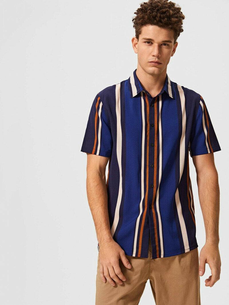 BOYS Short Sleeves BLUE Colorstriped Shirt