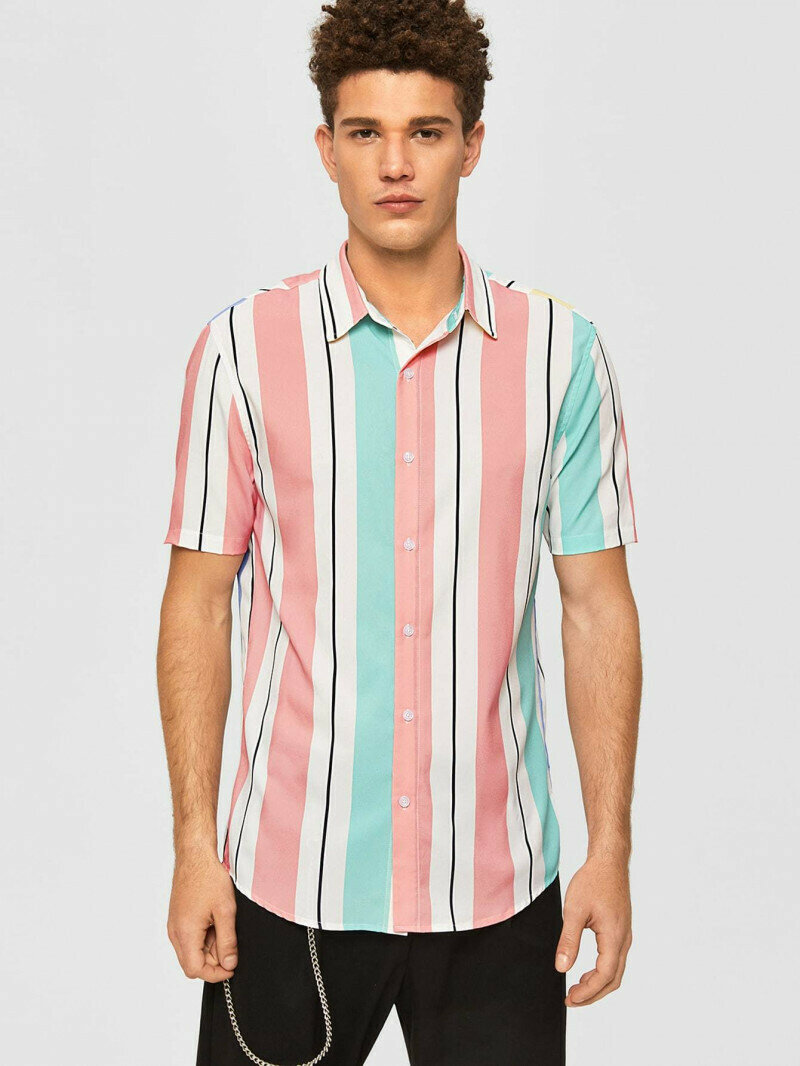 Boys Pink Colored Short Sleeve Striped Shirt