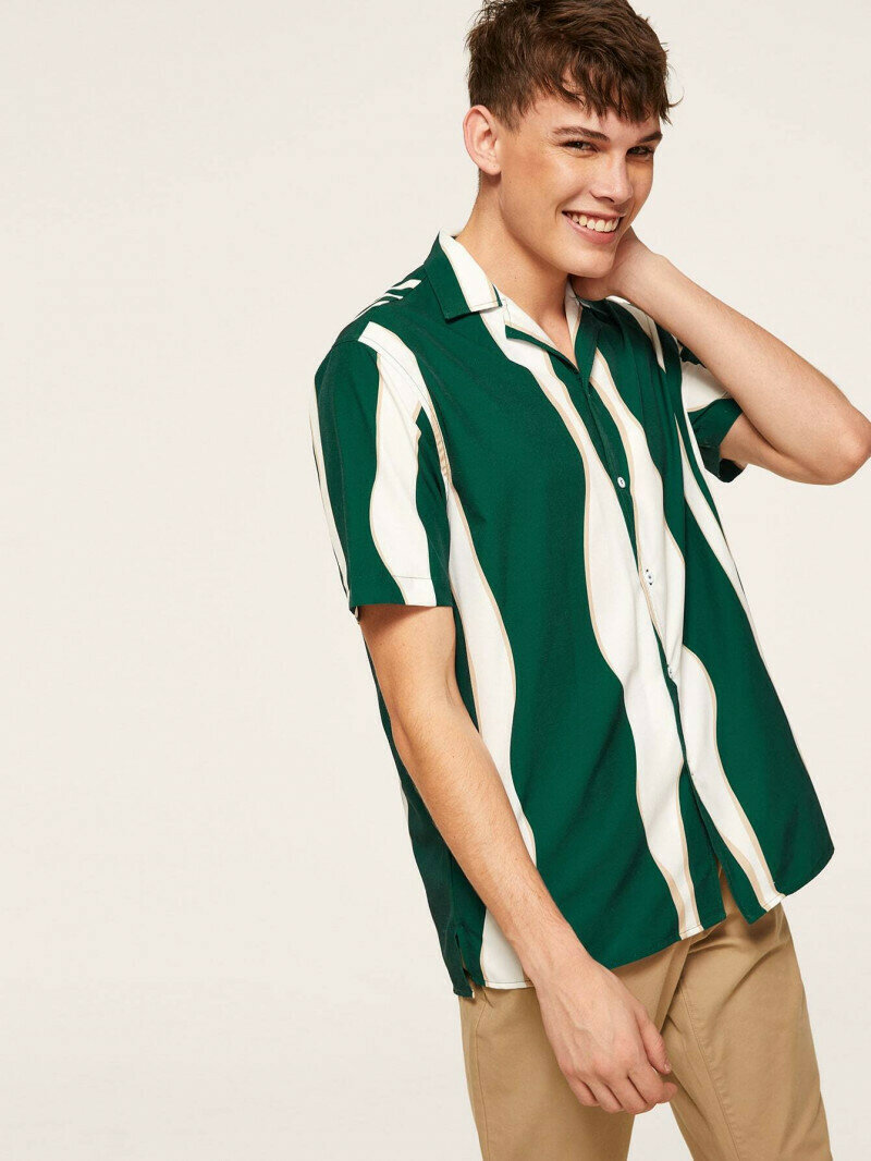 Boys Green And White Color Striped Revere Collar Shirt