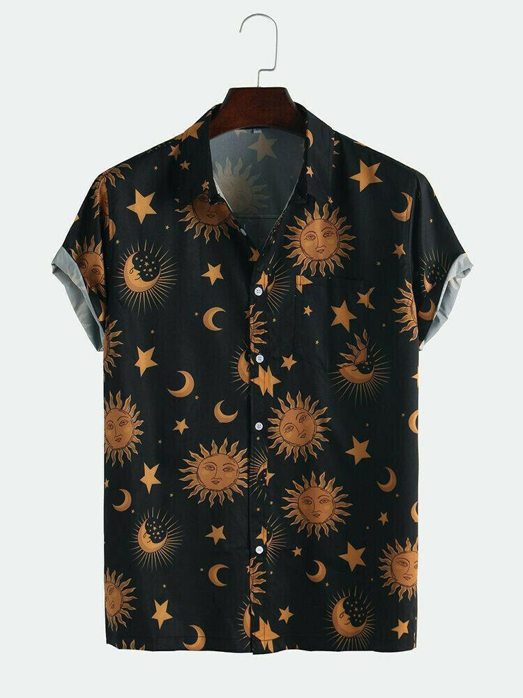 Boys Sun Moon Printed Black Half Sleeves Shirts