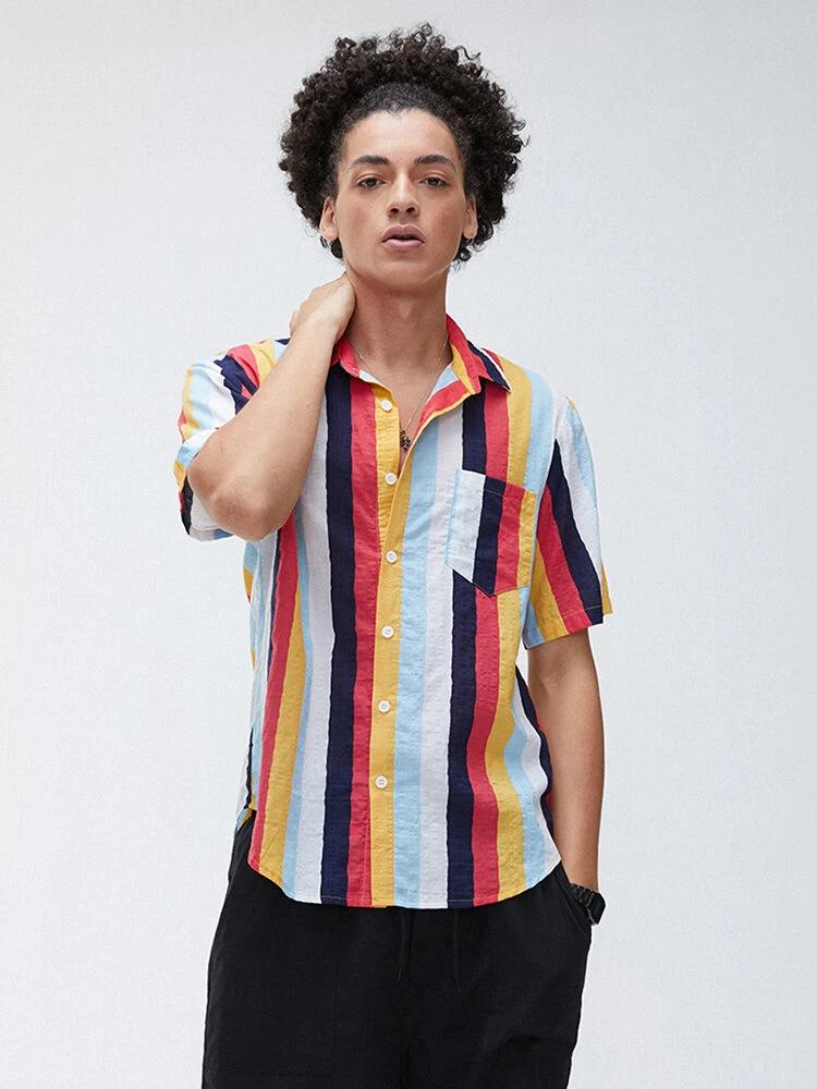 Boys New Fashion Multicolored Half Sleeve Colorful Striped Shirt