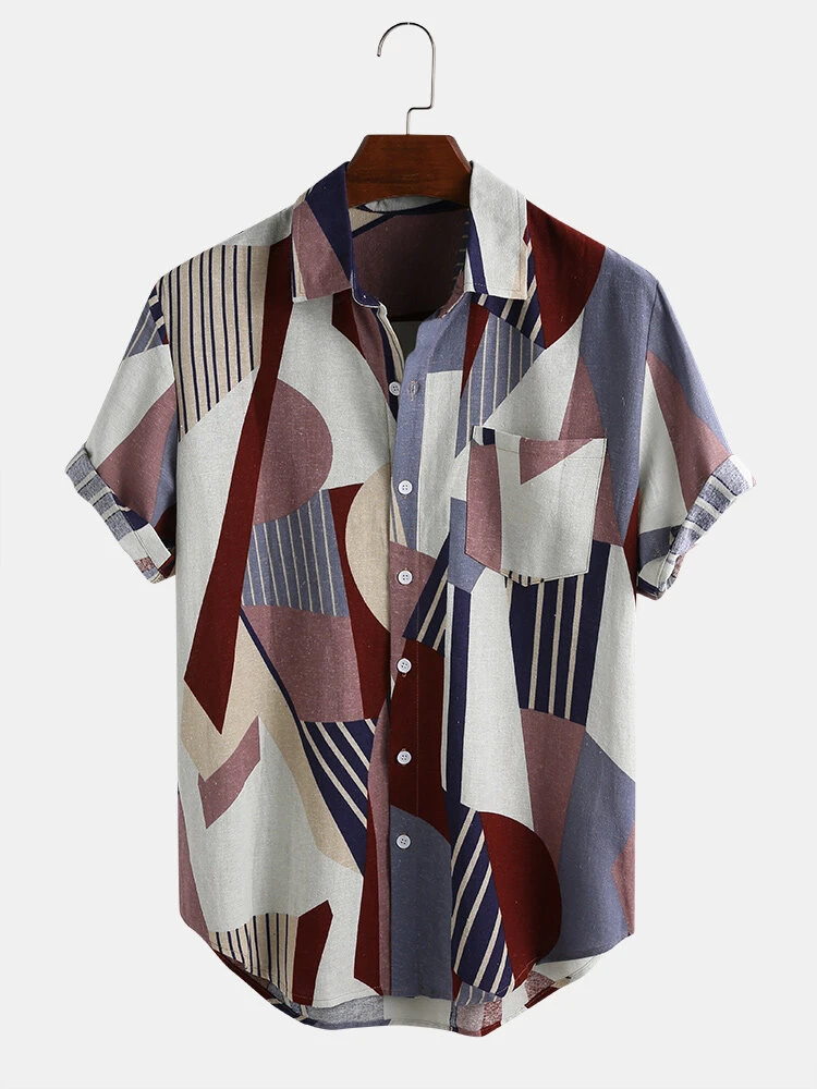 Mens Summer Wear Colorful Half Sleeve Shirts