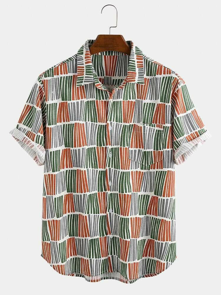 Boys Stripe Plaid Design Short Sleeve Casual Shirt